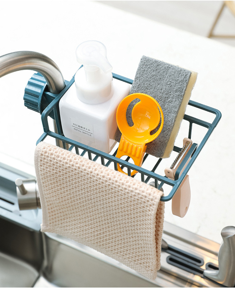 Stainless Steel Faucet Storage Racks Adjustable Sink Rag Sponge Draining Rack Kitchen Bathroom Soap Storage Holders Shelves