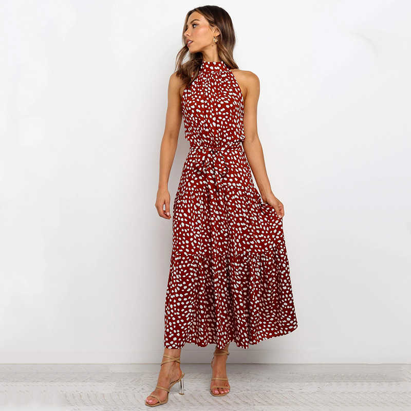 우아한 꽃 프린트 맥시 드레스 a 라인 오 넥 민소매 Draped Bow Sashes 여름 드레스 여성 캐주얼 Boho Dress Vestidos 2020