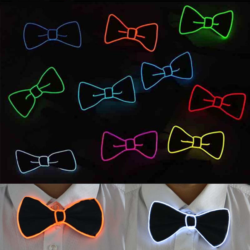 Polyester Silk Fashion Bow Tie Jewelry Party Flashing Christmas Necktie Gentleman LED Evening Show Men Bowtie