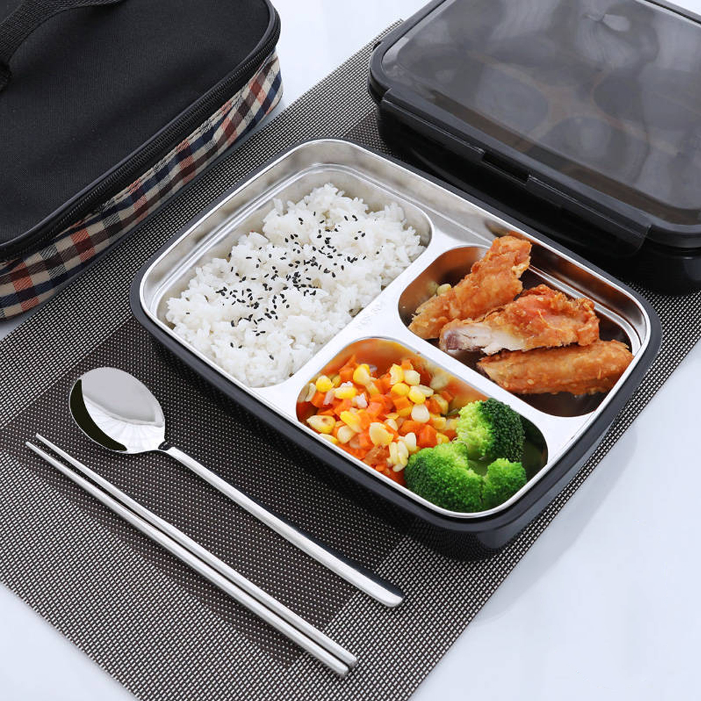 3/4 Lattices 304 Stainless Steel Bento <font><b>Box</b></font> Portable <font><b>Lunch</b></font> <font><b>Box</b></font> <font><b>Food</b></font> <font><b>Container</b></font> For Picnic School Work image