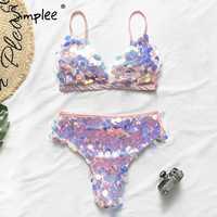 Simplee bikini talla grande 2019 mujer triángulo mujeres traje de baño cintura alta mujer Push up traje de baño verano bañador nuevo