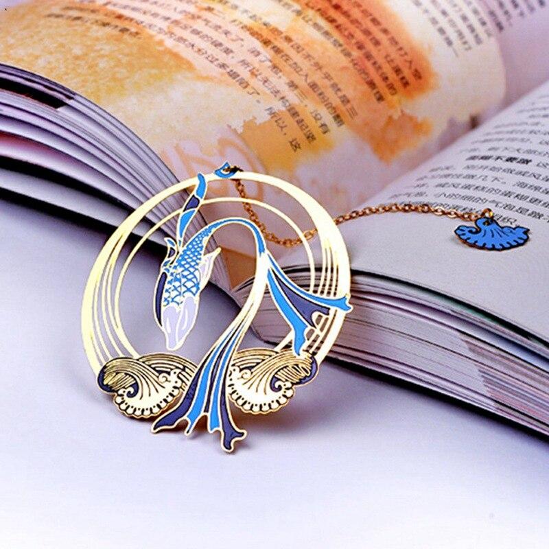 Chinese Style Elegant Vintage Metal Fringed Bookmark Creative Brass Fish Koi Theme Literary Exquisite Gift Bookmark Crafts Decor