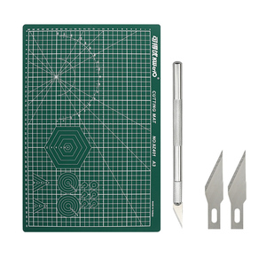 A3 PVC Cutting Mat + Metal Craft Knife Blades Set DIY Carving Tool Double-Sided Self-Healing Cutter Board Patchwork Cut Pad