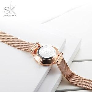Image 5 - Shengke New Creative Women Watches Luxury Rosegold Quartz Ladies Watches Relogio Feminino Mesh Band Wristwatches Reloj Mujer