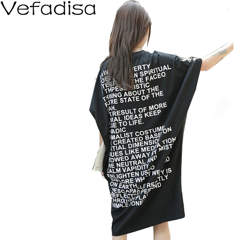 [vefadisa] 2017 Summer New Cotton Casual Loose Plus Size Letter Short Sleeve Pockets Round Neck Woman T Shirt Dress AL467 Платье