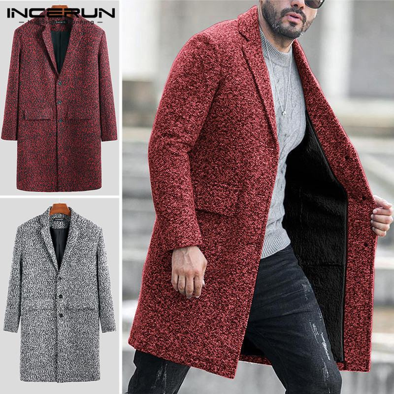 Men Business Stylish Suit Collar Single Breasted Long Woolen Coats Long Sleeve Turn Down Collar Literary   Trench   Jackets INCERUN