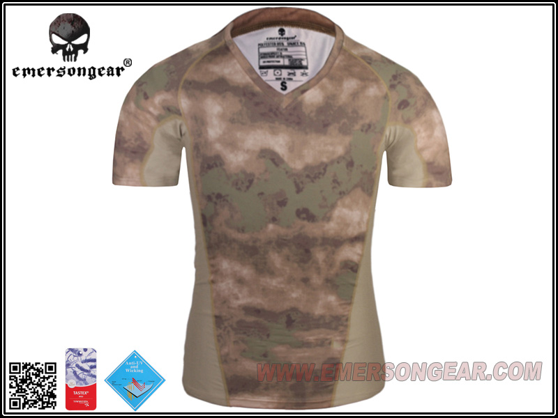 emersongear Emerson Skin Tight Base layer Shirt Running Hiking Summer V-Neck Camo Stretched Quick Drying