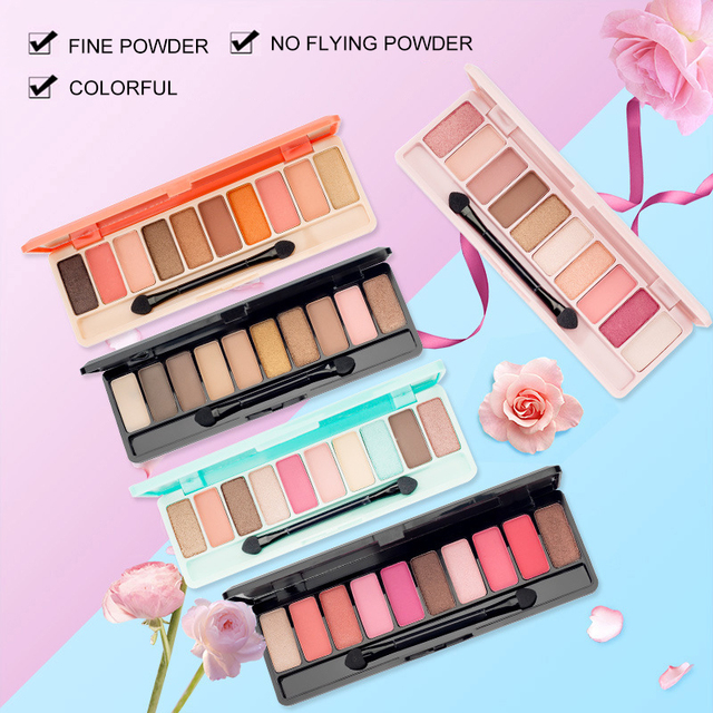 10 Color Nude Shining Eyeshadow Palette Glamorous Waterproof Not Blooming Cherry Eye Shadow Shimmer Glitter Makeup TSLM1 1