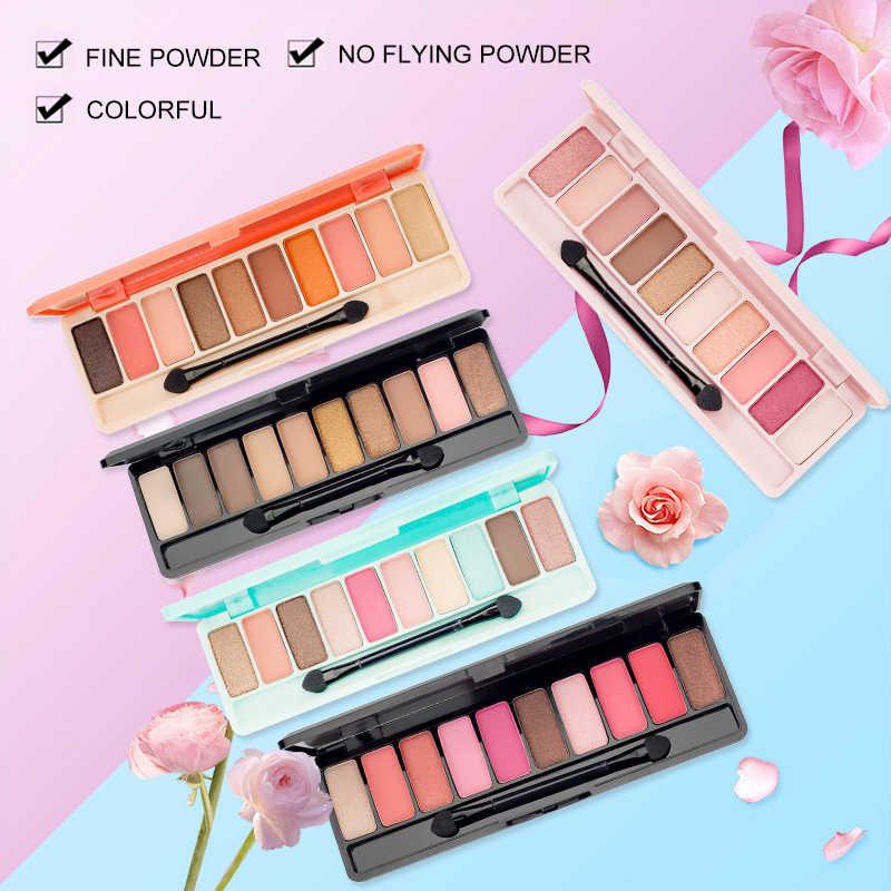 10 สี Nude อายแชโดว์ Glamorous กันน้ำไม่ Blooming Cherry Eye Shadow Shimmer Glitter Makeup TSLM1