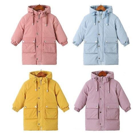 Down Jacket 2019 Winter New Long Down Jacket Kids Korean Thick Hooded Down Jacket Baby Boys& Girls Snowsuit Winter Jacket Kids Pakistan