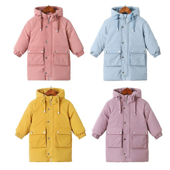 Warm coats Winter clothes Long Down Jacket Kids Korean Thick Hooded Jacket Baby Boys Girls Snowsuit