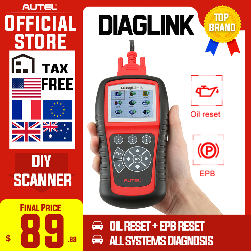 Autel Diaglink OBDII Full System Auto Diagnostic Scan Tool OBD 2 Car Code Reader as MD802 OBD2 Scanner Oil Reset EPB PK MD805 image