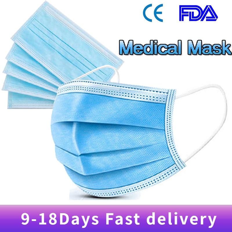 100PCS/lot Medical Masks Security Mascarillas Soft Breathable 3 Layer Face Masks Elastic Mouth Soft Medical Face Mask