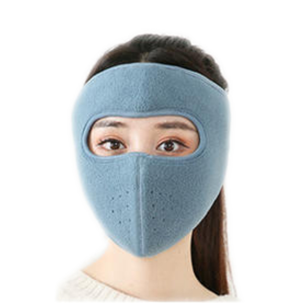 Men Women Warm Fleece Bike Half Face Mask Cover Ski Mask Beanie Cap Knit Face Mask Winter Hunting Ear Warm Workout Hat Mask