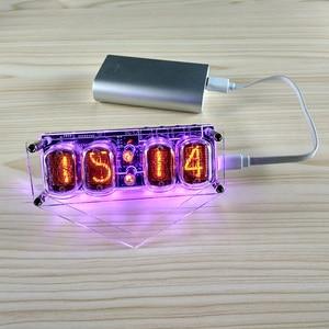 Image 3 - Elektroniczny DIY w 12 lampy jarzeniowej 4 cyfrowy zegar kolorowe podświetlenie led DS3231 zegar nixie IN 12B DC5V USB