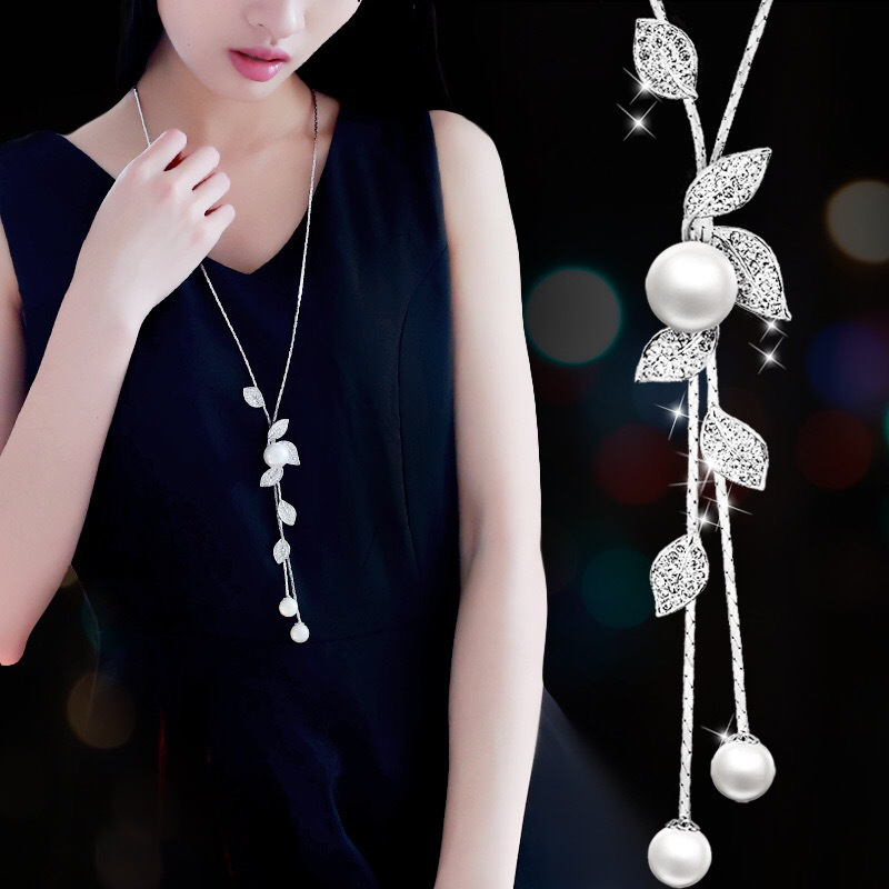 Fashion elegant Simulated Pearl Choker Necklaces for Women Silver Color Chain Long Necklace Pendant Jewelry Accessories Trendy