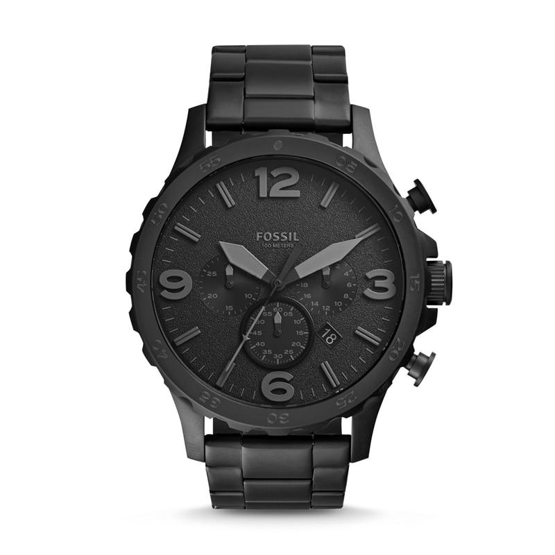 Fossil Männer Uhr Nate Chronograph Schwarz Edelstahl Uhr Schwarz Zifferblatt Quarz Metall Beiläufige Uhr JR1401