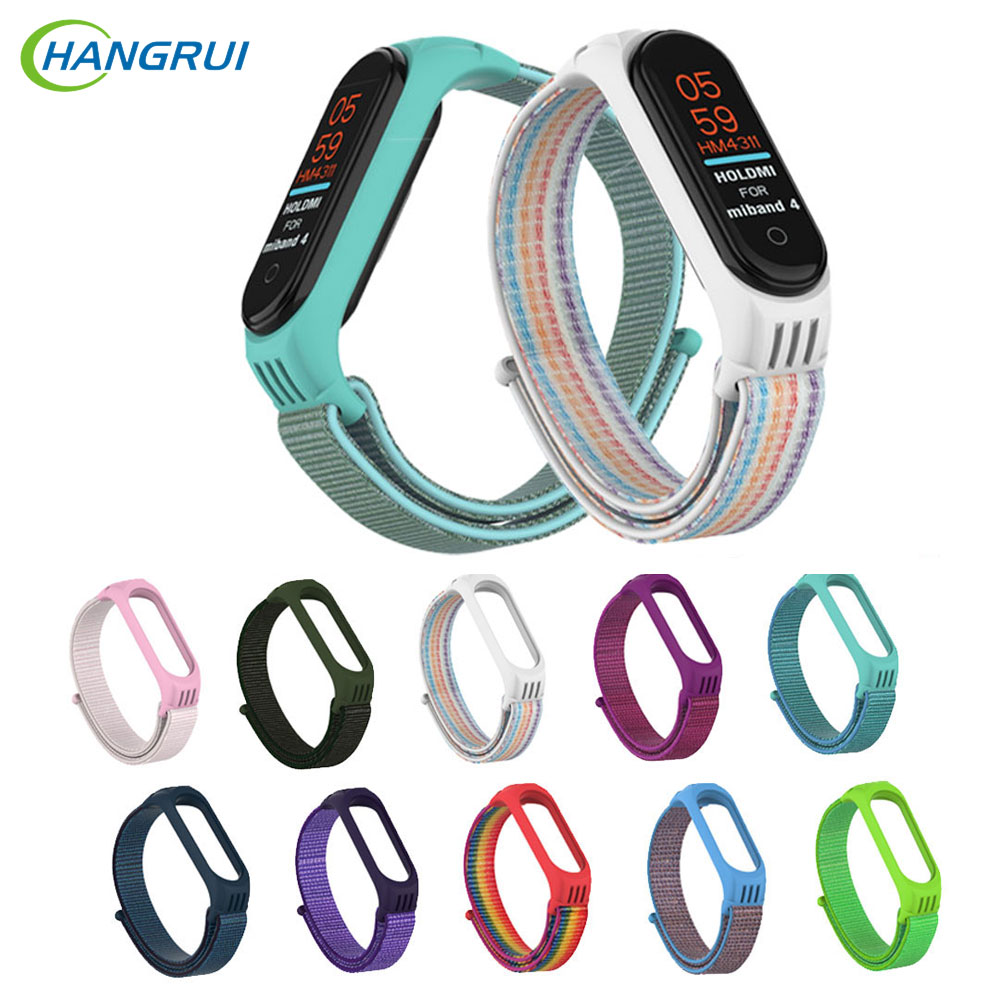 Hangrui Nylon Strap With TPU Case For Xiaomi Mi Band 4 3 Replaceable Watch Strap For Mi Band 3 4 Smart Wrist Sports Bracelet