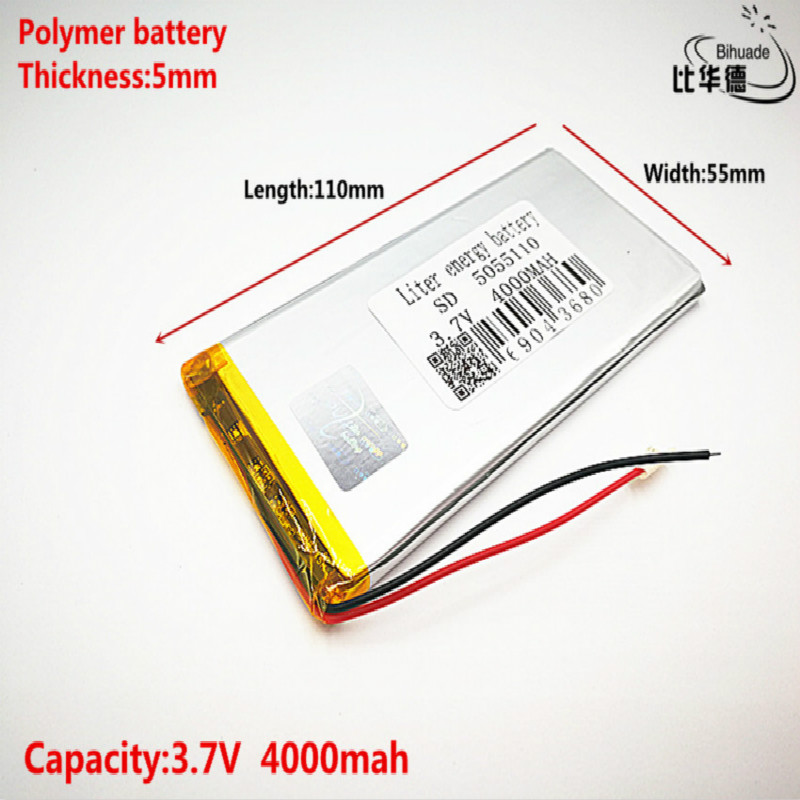 Good Qulity 3.7V,4000mAH 5055110 Polymer Lithium Ion / Li-ion Battery For Tablet Pc BANK,GPS,mp3,mp4
