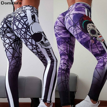 2019 Human Skeleton Personality Number Printing Sports Pants High Waist Polyester Yoga Hip Hit Underpant Woman