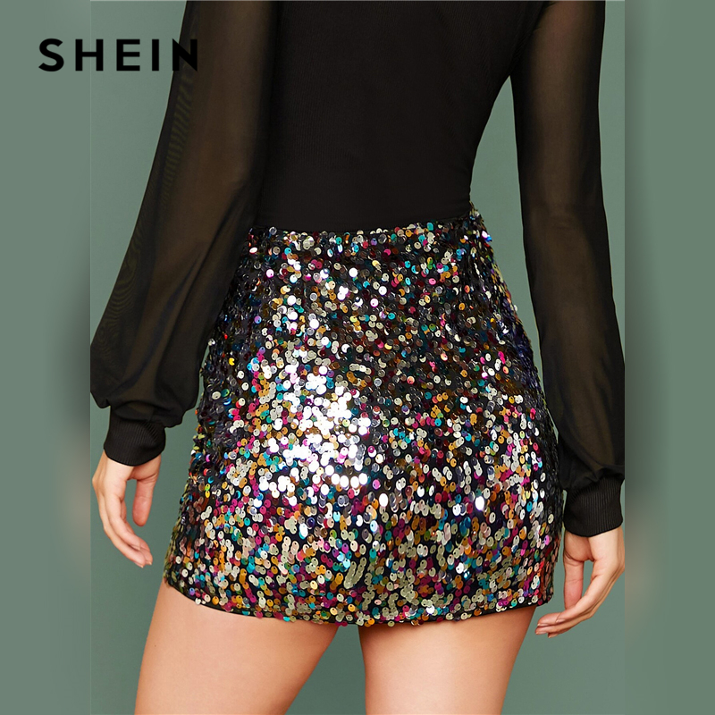 SHEIN Multicolor Glamorous Colorful Sequin Skirts Womens Spring Autumn Nightout Mid Waist Party Bodycon Mini Skirt 2