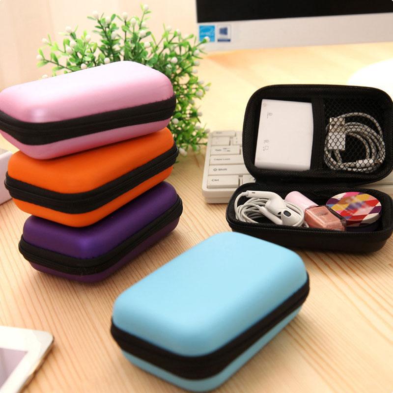 Компактная цветная Портативная сумка для наушников, кошелек для монет, чехол для наушников и USB-кабеля, коробка для хранения, кошелек, сумка ...