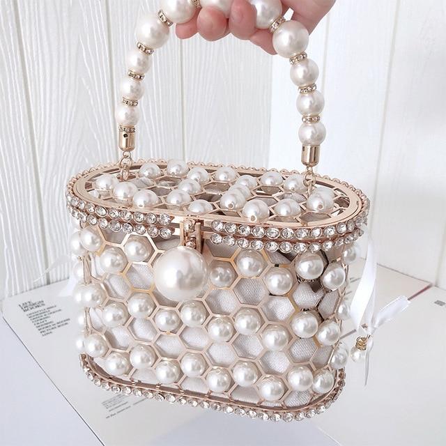 Luxury Hollow Out Pearl Flower Mini Bucket Handbag  1