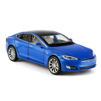 цена на 1:32 Diecast Car Toy Vehicle Acousto-Optic Alloy Car Model Children's Toy Car Simulation Teslas-Model-S Doors Open Kids Toys Car