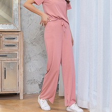2 Pieces Women Short Sleeve Pajamas Set Women Wide Leg Pants Short Sleeve Two Pieces Female Casual Home Service Suit Summer cheap Tataria REGULAR Ankle-Length Ages 18-35 Years Old O-Neck Elastic Waist COTTON Polyester Pullover NONE B-WS202 Full Length