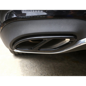 Image 5 - 2pcs Exhaust Muffler Cover Trim Moulding Black Stainless Steel For Mercedes Benz GLC GLE GLS C E Class