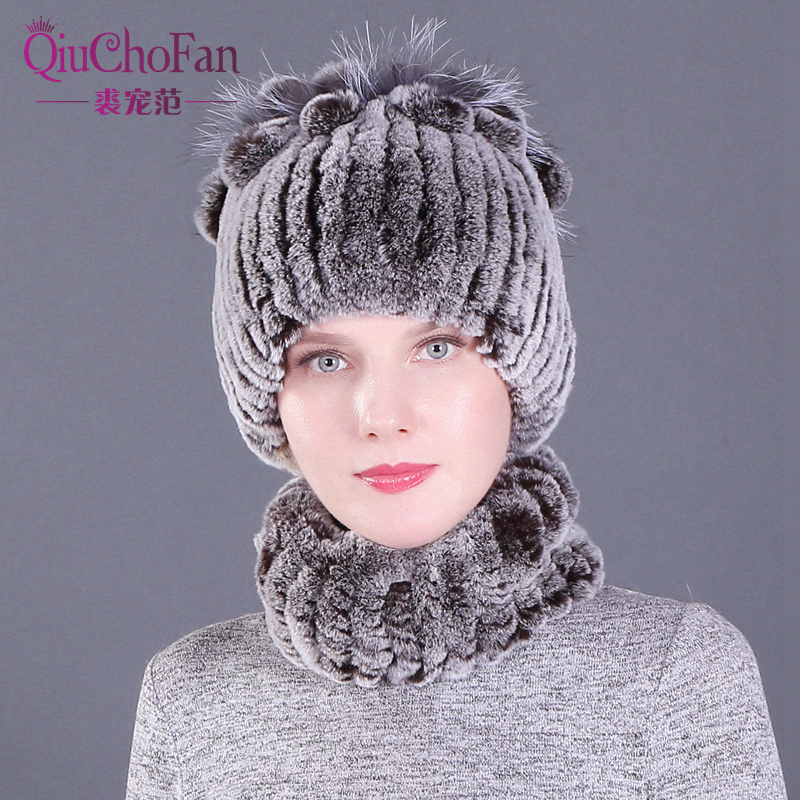 Winter Knitted 100% Natural Fur Hats Scarves Sets Women Warm Real Rex Rabbit Fur Hat Scarf Lady Fashiom Thick Rex Rabbit Fur Hat