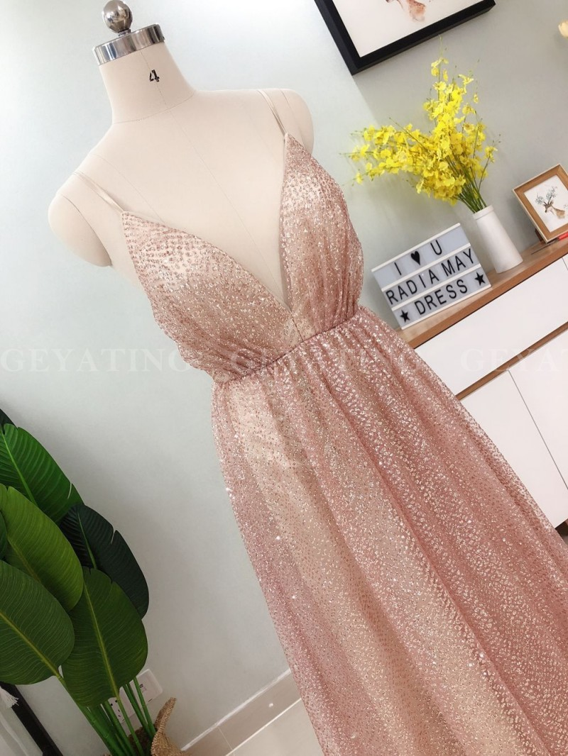 Sexy Spaghetti Straps V Neck Backless Prom Dresses 2019 Rose Gold Sequin Long Evening Dress A