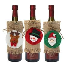 Christmas Red Wine Bottle Decor Set Santa Claus Bottles Cover for Xmas Clothes Kitchen Decoration New Year