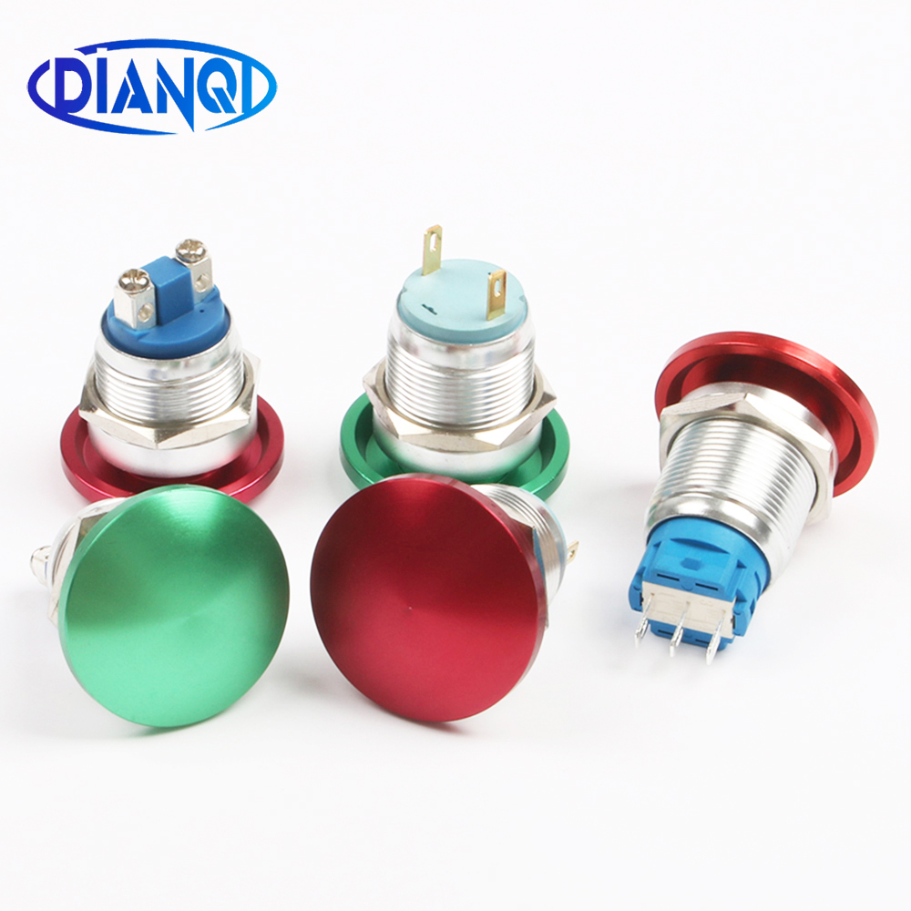 Image 2 - 19mm Metal aluminum mushroom head switch Push Button Switch Momentary self locking 1NO Car press button 2pin terminal 19MG/L.F.C-in Switches from Lights & Lighting