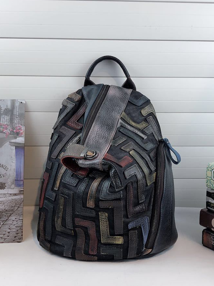 Vintage Backpack Retro Knapsack Female Anti-Theft Women Feminine Patchwork Daily Chic