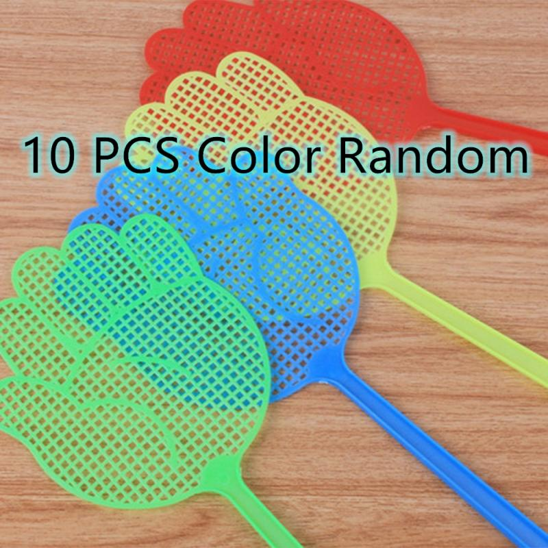 10 Pcs Fly Swatter Cute Palm Pattern Plastic Fly Swatter Lightweight Household Flapper Mosquito Bug Pest Control Color Random
