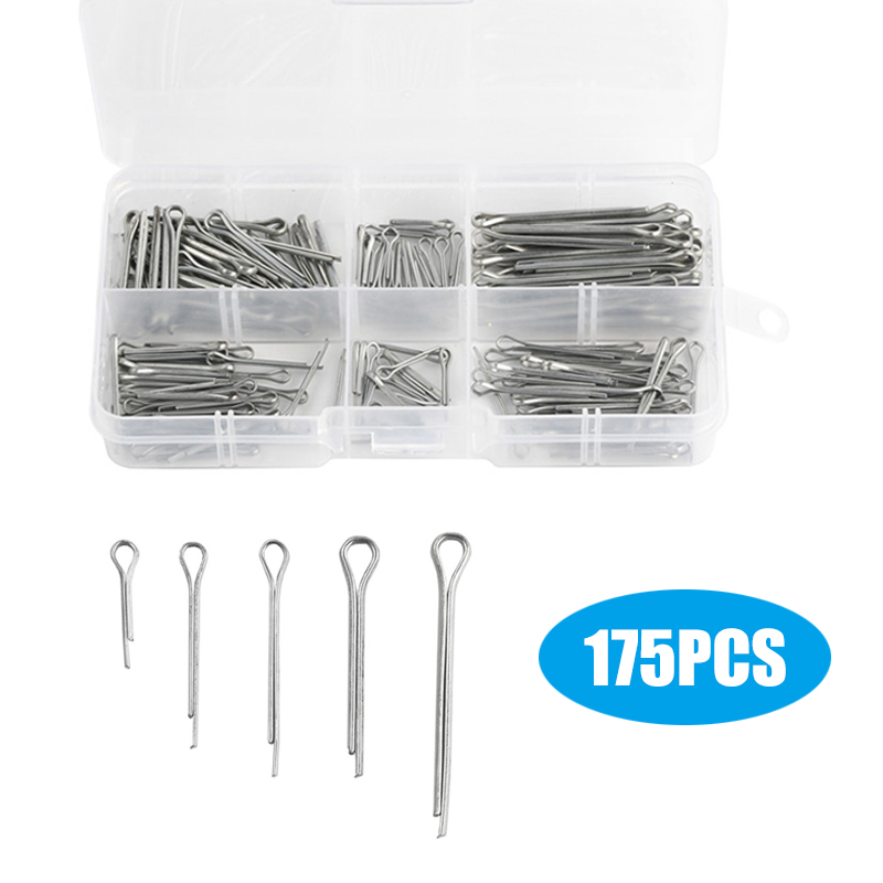 175Pcs Assorted Sizes Sliver Split Pins Cotter Fixings Zinc Plated Steel Hard Case Link Split Cotter Pin With Box