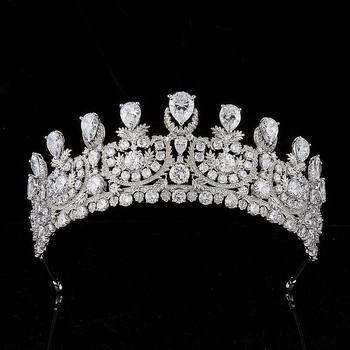 AAA Zircon Zirconia Tiara Crown Luxury Diadem Prom Pageant Engagement Headbands Bride Wedding Accessories Bridal Hair Jewelry