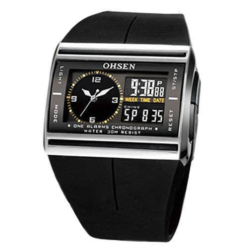 Digital Analog LED Luminous Date Rubber Band Sport Men's Boy's Wrist Watch Mas-culino Fashion Men's Watch Large Dial Militarys
