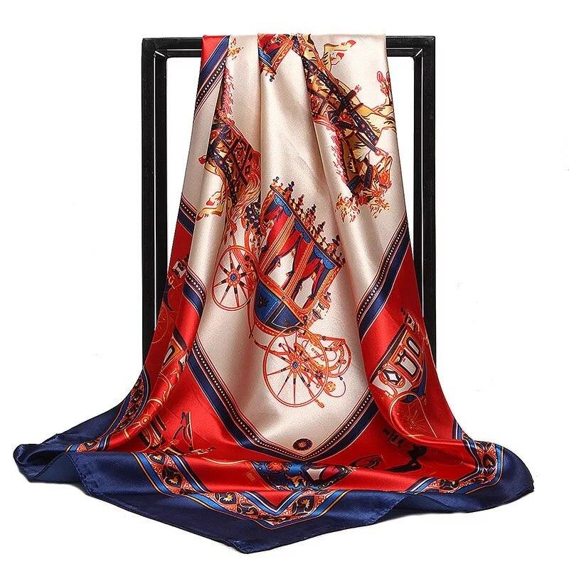 Silk   Scarves   Women Foulard 90*90cm Square Head Hijab   Scarf   Ladies chiffon Shawl Bandanna female   wrap   muffler pareo free shipping