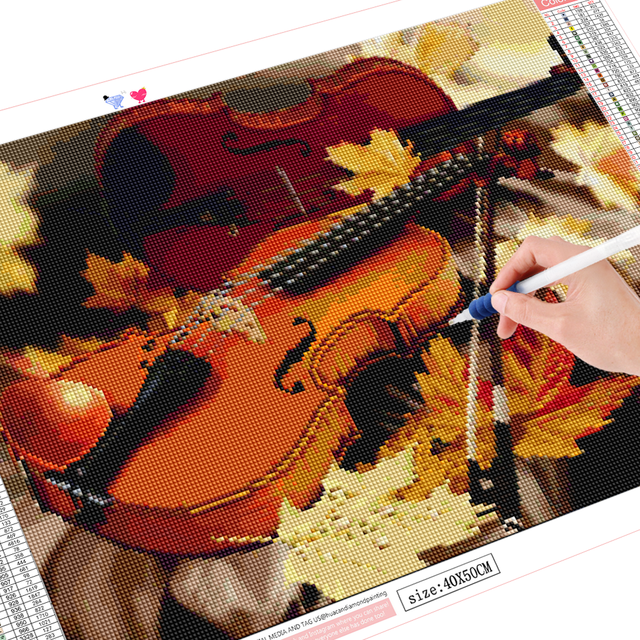 HUACAN 5D Diamond Painting Guitar Full Drill Diamond Art Embroidery Landscape Mosaic New Arrival Home Decoration