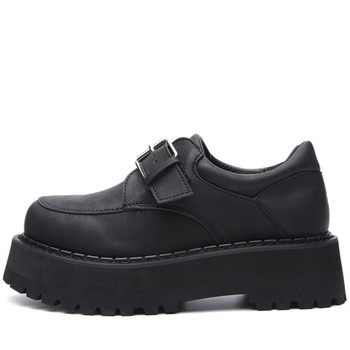 High Platform Women Casual Shoes Chunky Women Single Shoes Leather Black Punk Shoes Round Toe Buckles Gothic Ladies Shoes 2020