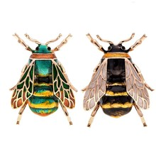 Fashion Natural Insect Animal Enamel Brooches Bee Alloy Pins Vintage Jewelry for Women,bee(China)