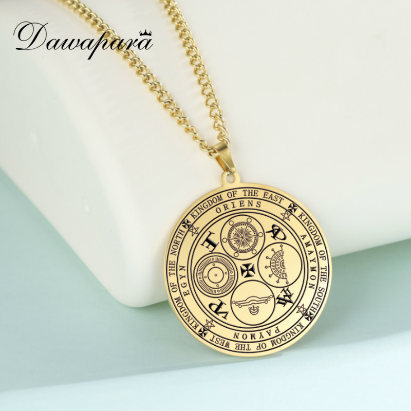 Dawapara The Seals of The Four Emperors Kingdom of Spirits Rulership, Four Powerful Archangels Amulet Necklaces Stainless Steel