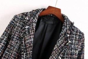 Image 5 - Fresh style Spring/Autumn female casual jacket coat hand tassel loose coat checkered Tweed coat jacket lapel thick jacket