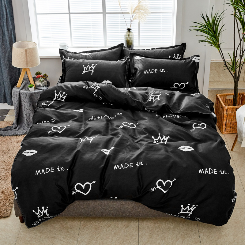 BEST.WENSD New Classic Black Thickene Bedding Set Winter Crown Love Bed Comforter Duvet Cover Sheet Pilow Case Bedsets Adulte