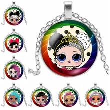 2019 New Hot Mini Anime Cartoon Pattern Glass Convex Round Fashion Necklace Pendant Childrens Gifts
