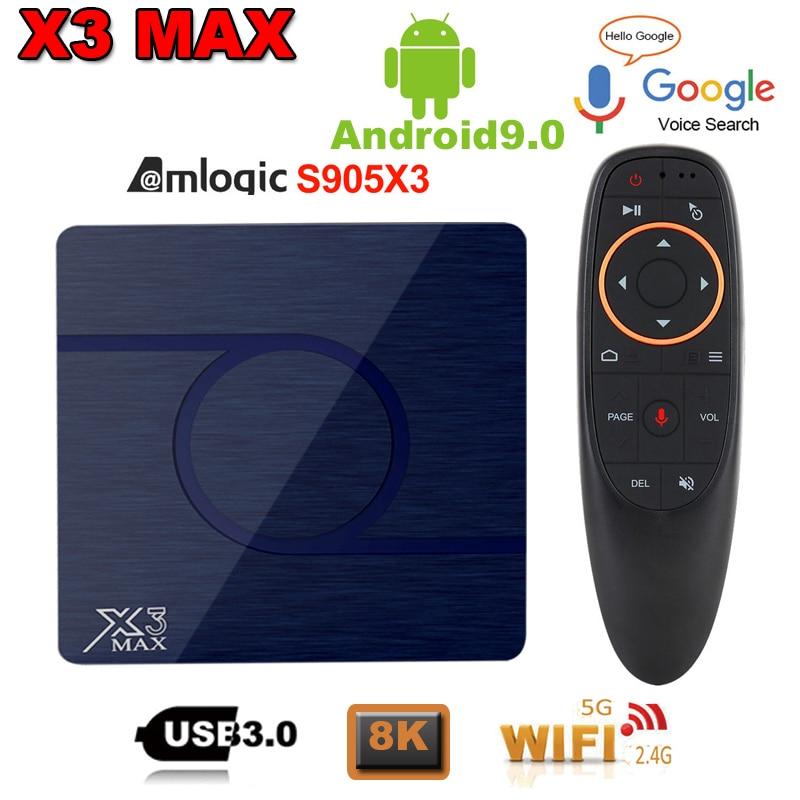 X3 Max TV Box Android 9.0 Amlogic S905X3 4GB 32GB 64GB TV Box 8K 1080P HD Media Player Dual WIFI Netflix Google Player