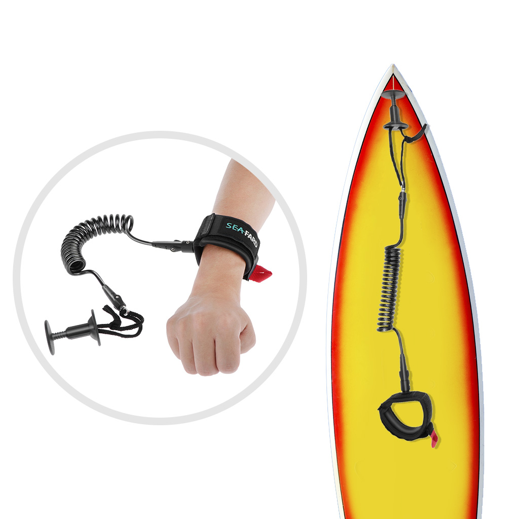 Professional Bodyboard Leash with Wrist Strap Surf SUP Leash 5 Foot Coiled Leash & Surf Leash Plug Cord