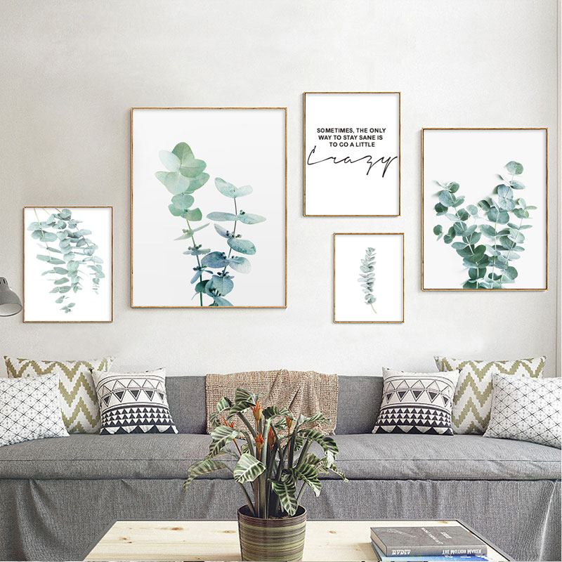 Green Plant Leaves Poster Print Wall Art Canvas Painting Nordic Eucalyptus Picture For Living Room Home Decor Decoration